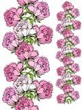 边界无缝虹膜的玫瑰 免版税库存图片