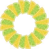 边界框架用柠檬和石灰 免版税库存图片
