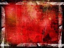 边界被构造的grunge红色 库存照片