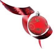边界装饰做的红色丝带漩涡 免版税库存照片
