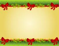 边界鞠躬圣诞节霍莉红色 免版税库存图片