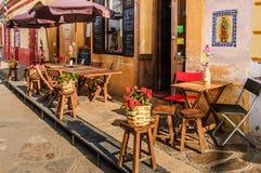 边路桌餐馆,圣克里斯托瓦尔de Las卡萨什外, 库存照片