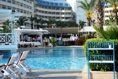 边,土耳其- 2014年4月16日:豪华五星边的旅馆水晶海军上将Resort 是一个普遍的旅游目的地 库存图片