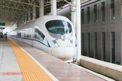 辽宁,中国- 2015年8月02日:电中国的铁路CRH380BG 免版税库存照片