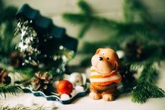 达克斯猎犬小狗和新年礼物 图库摄影