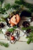 达克斯猎犬小狗和新年礼物 免版税库存照片