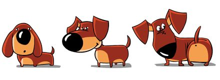 达克斯猎犬滑稽三 向量例证