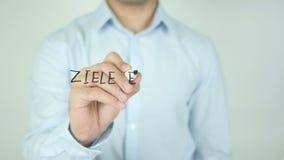 达到在德语, Ziele Erreichen的目标,写在透明屏幕 股票视频