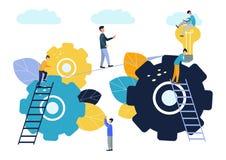 达到目标,企业队克服障碍并且成功,查寻新的想法解答 库存例证