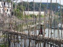 达卡孟加拉国竹桥梁  库存照片