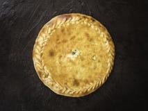 达吉斯坦饼Chudu用肉和土豆,顶视图 库存图片