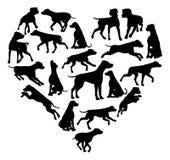达尔马希亚狗心脏剪影概念 免版税库存图片