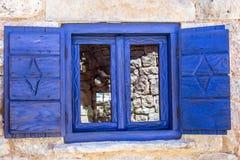 达尔马希亚蓝色窗口 免版税库存图片