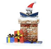 达尔马提亚狗与书的圣诞老人狗上升在烟囱外面 查出在白色 库存图片
