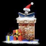 达尔马提亚狗与书的圣诞老人狗上升在烟囱外面 查出在黑色 库存照片