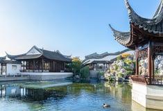 达尼丁中国庭院的主要大厅在新西兰,它是访客的一个地方能享用地道中国茶和手抓食物 免版税图库摄影