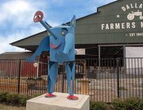 达拉斯与异想天开的猪,六个金属雕塑之一的农夫市场,达拉斯,得克萨斯 库存图片