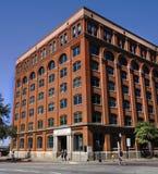 达拉斯,得克萨斯,美国2014年12月16日:得克萨斯教科书存放处,修造的李・哈维・奥斯瓦尔德在他什么时候刺杀了得前 免版税库存图片