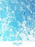 达拉斯,得克萨斯-地图海报设计 库存例证