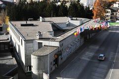 达沃斯市,议会中心,世界经济论坛,瑞士阿尔卑斯 免版税库存图片