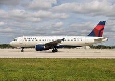 达美航空空中客车A-320喷气机 库存照片