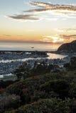 达讷论点日落的港口视图 免版税库存图片