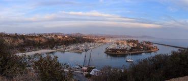 达讷论点港口全景日落的 免版税图库摄影