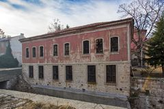 达诺夫学校从19世纪, Perushtitsa,普罗夫迪夫地区, Bulg大厦  免版税库存图片