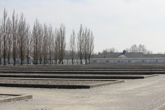 达豪苦难的集中营领域,被注意作为第一个纳粹灭绝阵营 免版税库存图片
