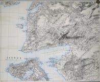 达达尼尔海峡、特洛伊和莱斯博斯岛地图  免版税图库摄影