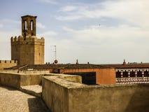 巴达霍斯Alcazaba - ` Espantaperros `塔  免版税图库摄影