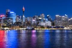 达令港悉尼微明 免版税图库摄影