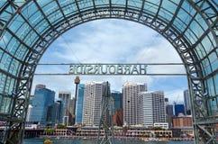达令港都市风景日落悉尼新南威尔斯澳大利亚的 免版税库存照片