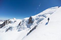 迁徙在勃朗峰山上面在法国阿尔卑斯 图库摄影
