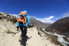 迁徙在喜马拉雅山山的少妇背包徒步旅行者 免版税库存图片