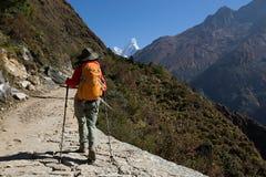 迁徙在喜马拉雅山山的背包徒步旅行者 图库摄影