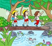 迁徙在森林传染媒介例证的小组孩子足迹 向量例证