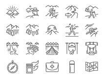 迁徙的线象集合 包括象作为看法,自然,野营,山,森林,挑运,旅行,日落和更多 免版税库存图片