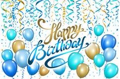 迅速增加在黑色的生日快乐 金蓝色气球闪耀假日背景 幸福对您的诞生天商标,卡片,横幅,我们 皇族释放例证