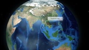 迅速移动通过空间到地球动画的-安达曼海一个地点 股票视频