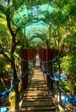 过一座吊桥 免版税库存照片