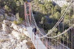 过一座桥梁的远足者在一个晴天 免版税库存图片