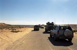 过境西部的撒哈拉大沙漠 图库摄影