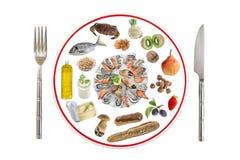 过敏食物概念 食物的各种各样的过敏原类型准备有刀子的在白色背景的板材和叉子 免版税库存图片
