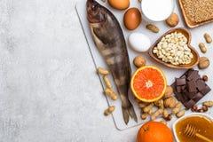 过敏食物的选择 过敏食物概念 免版税库存照片