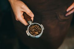 过滤器持有人和咖啡豆 免版税库存照片