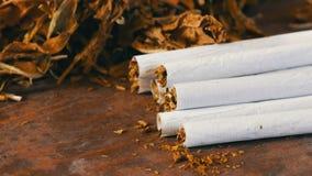 过滤器自创香烟或卷状食物在干燥烟草叶子旁边充塞用切好的烟草 影视素材