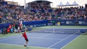 过程中网球的比赛 免版税库存图片