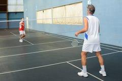 过程中羽毛球的比赛 免版税图库摄影