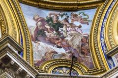 过去的教会大教堂圆顶的罗马意大利绘画圣徒Agnese 库存照片